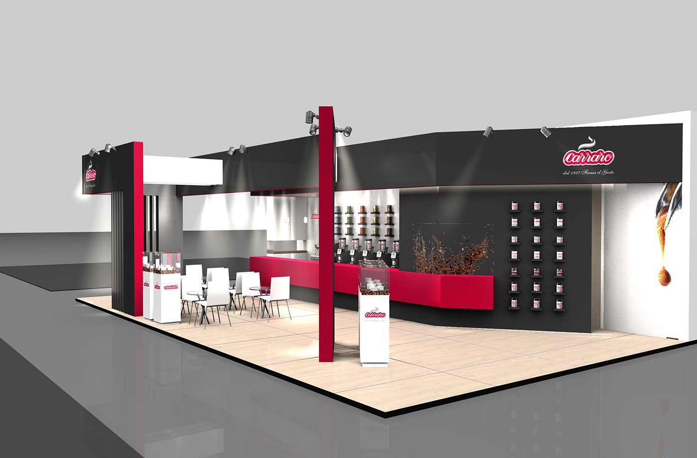 Exhibition Stand Projects : CaffÈ carraro exhibition stand